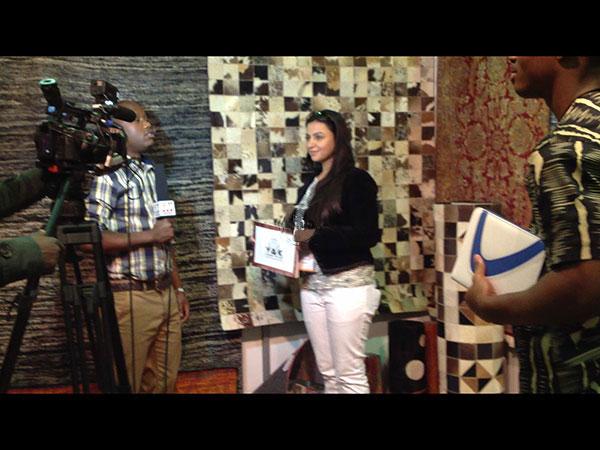 Ms.Talwar at SAITEX, Johannesburg presenting YAK on a national TV channel