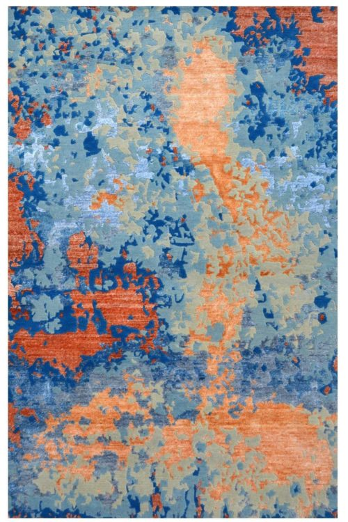Orange spray Wool Rug