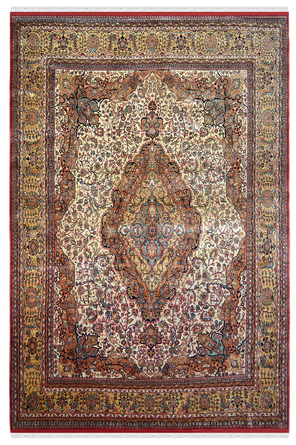 Central Medallion Handknotted Wool Area Rug