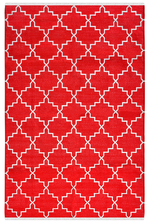 Red Zanjir Handmade Dhurrie