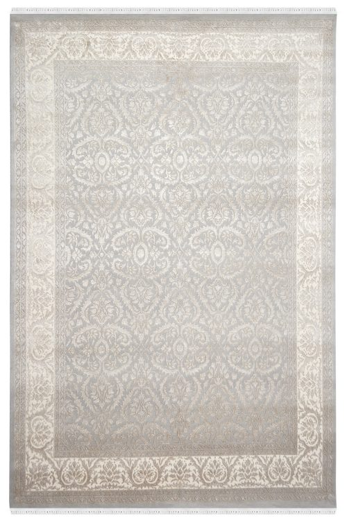 Embossed Grey Handknotted Wool Rug