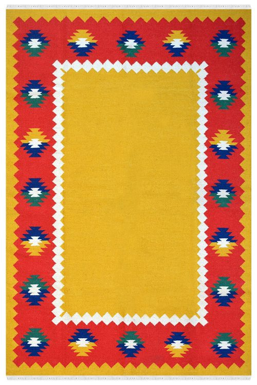 Diamond Border woolen dhurrie