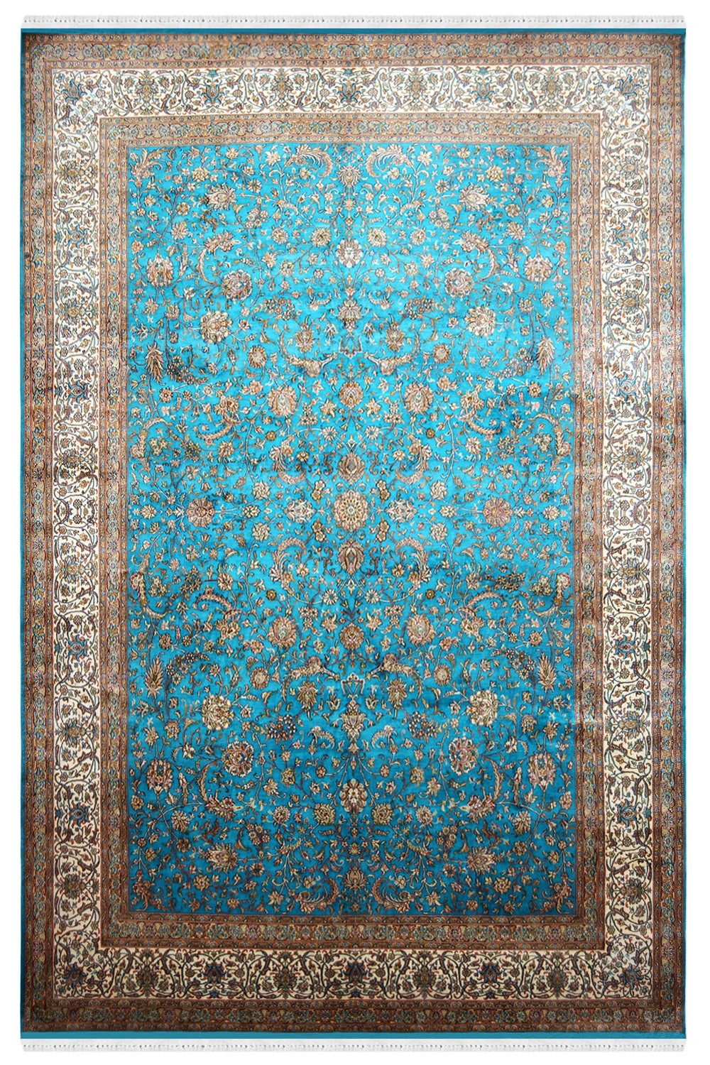 Turq Jewel Handknotted Silk Area Rug